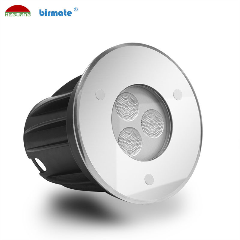 Mini 3W Led Ground Lights 316L Stainless Steel Tempered Glass Cover External Control
